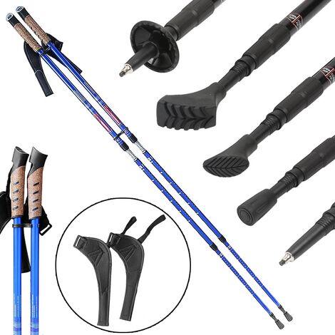 Bastones de aluminio para la marcha nórdica de 2 piezas Sistema antichoque para la marcha de altura ajustable Pad trekking