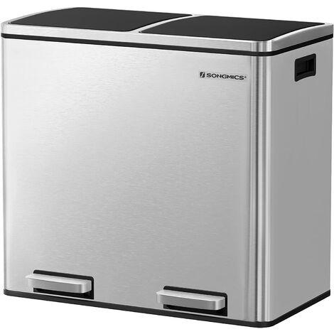 Basurero Reciclaje, Cubo de Basura para Cocina con 2 cubetas, 2 x 24L