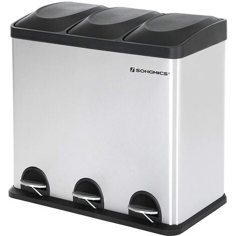 Basurero Reciclaje, Cubo de Basura para Cocina con 3 cubetas, 3 x 18L