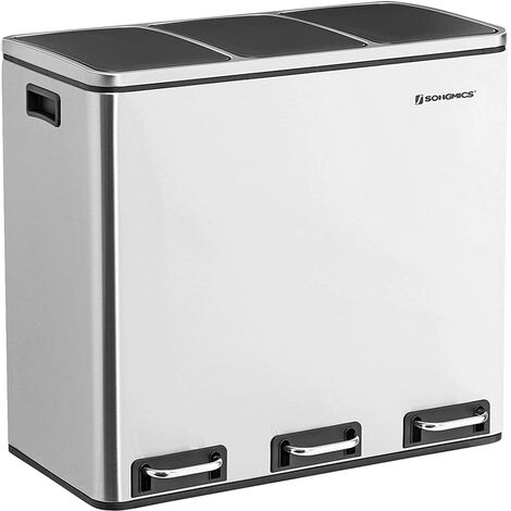 Basurero Reciclaje, Cubo de Basura para Cocina con 3 cubetas, 3 x 18L, Tapa de Mecanismo, con Pedales, Acero Inoxidable, Cubos Interiores de Plástico y Asas de Transporte, LTB54NL