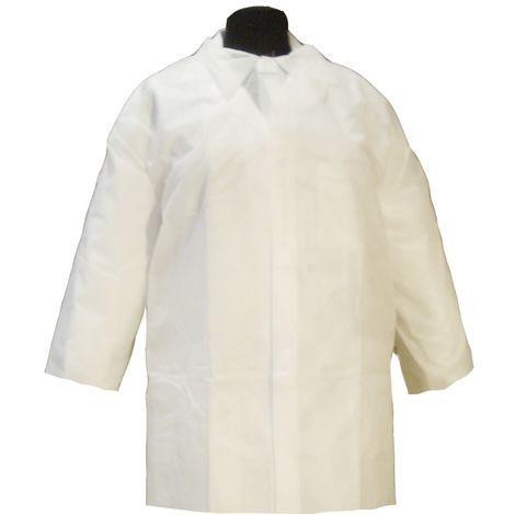 Bata visita infantil protección desechable. Cierre con velcros y cuello tipo camisa. Color blanco