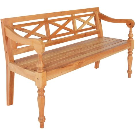 Batavia Bench 136 cm Solid Mahogany Wood Light Brown