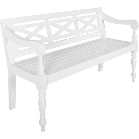 Batavia Bench 136 cm Solid Mahogany Wood White - White