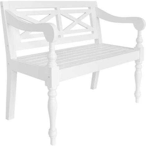 Batavia Bench 98 cm Solid Mahogany Wood White