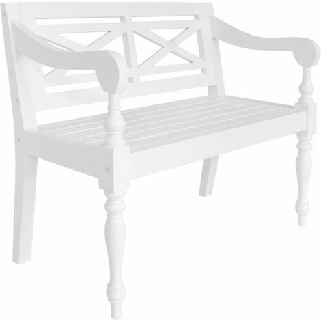 Batavia Bench 98 cm Solid Mahogany Wood White - White