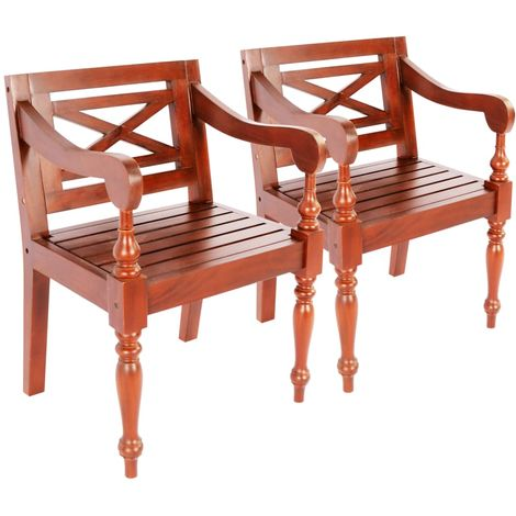 Batavia Chairs 2 pcs Solid Mahogany Wood Dark Brown
