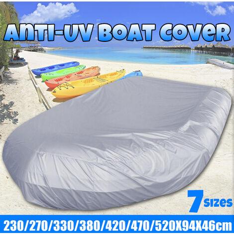Bateau gonflable de couverture résistant aux UV de tissu d'Oxford imperméable / dériveur / stockage de couverture d'appel d'offres s'adapte à la longueur (gris argenté, 520X94X46cm)