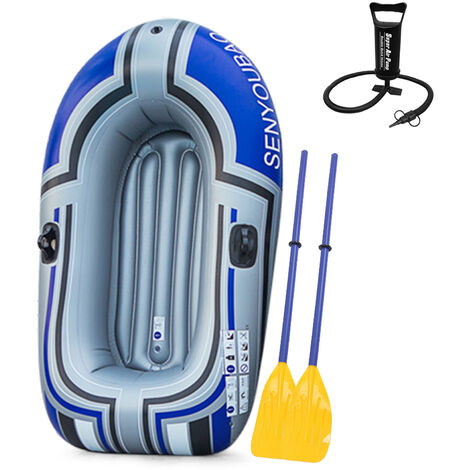 Bateau Gonflable Pliable Portable, Bateau Gonflable En Pvc Epais, Bateau Bleu Pour Deux Personnes + Pompe A Main + Rame