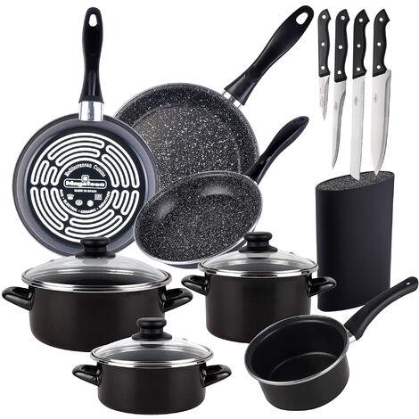 Bateria de cocina 7 piezas de acero vitrificado con juego de sartenes (18/20/24 cm) de acero vitrificado Magefesa y tacoma con 4 cuchillos de acero inoxidable