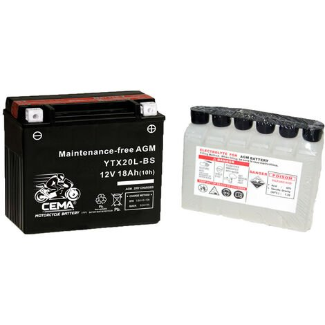 Batería de moto YTX20L-BS | AGM Hermética YTX20L-4