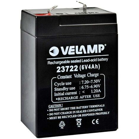 Batería recambio Velamp 23722 - 6V 4A 4.5x7x10cm.