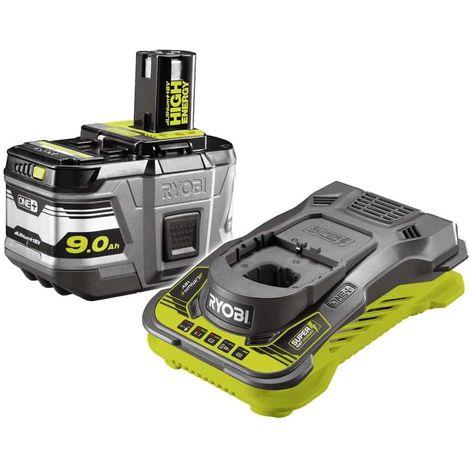 Batería RYOBI 18V Litio-ion OnePlus High Energy 9.0 Ah RYOBI - 1 cargador rápido RC18150-190G