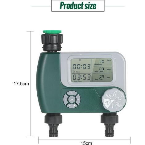 Baterias del grifo flexible programable digital temporizador de riego al aire libre en un sistema de rociadores automaticos controlador de riego con 2 en la salida de las plantas celebrada Jardin (Baterias no incluidas)