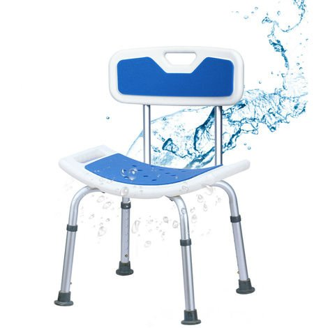Bath Chair Shower Stool Safety Seat Bathroom Bathing Bench W/ Back Adjustable