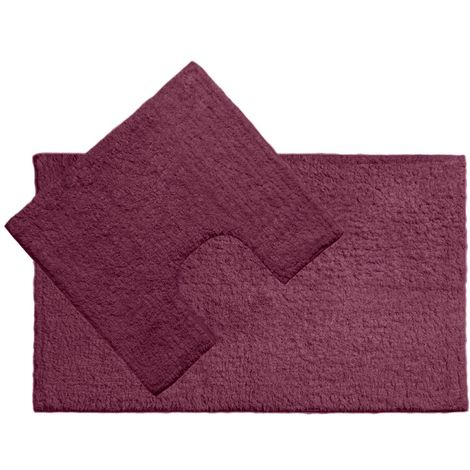 Bath mat and pedestal set, purple cotton
