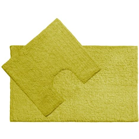 Bath Mat and Pedestal Set,Lime Green Cotton