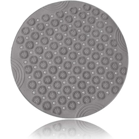 Bath Mat Non-Slip, Round Mildew Resistant PVC Shower Mat with Suction Cups, Antibacterial Durable Mildew Resistant Foot Massage Bath Mat (Gray)