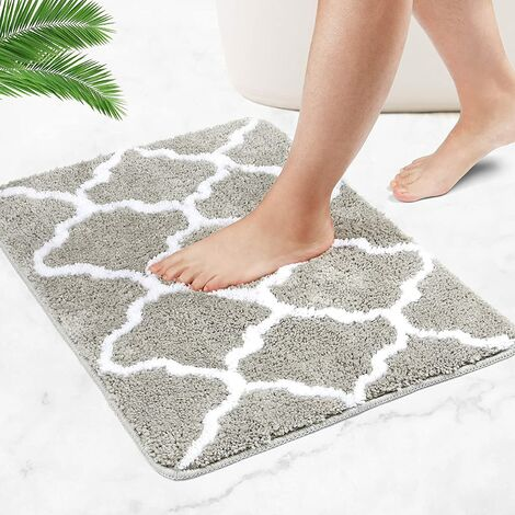 Bath mats, non-slip bath mats, extra-long fluffy microfiber duvets are soft and comfortable and absorb water very quickly (Gray, 40 x 60 cm)