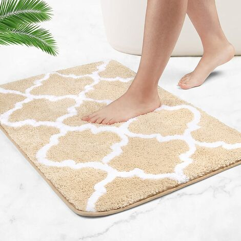 Bath mats, non-slip bath mats, extra-long fluffy microfiber duvets are soft and comfortable and absorb water very quickly (light brown beige, 50 x 80 cm)