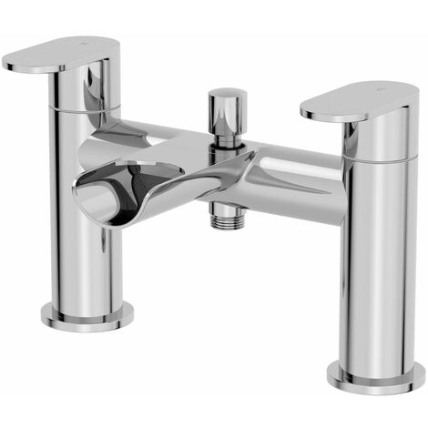 Bath Mixer Filler Double Lever Tap Luxurious Modern Chrome Deck Mounted Hot Cold
