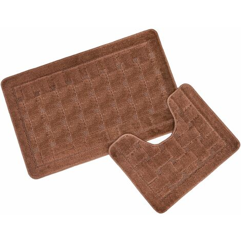 Bath & Pedestal Mat / Rug Set 2 Piece Brown Shell