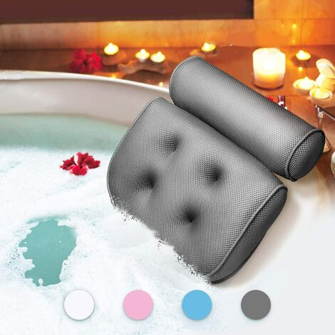 Bath Pillow Bath Pillow Waterproof Head and Neck Foaming Bath Mat with Suction Cup Bath Accessories Gift Articles Gray B