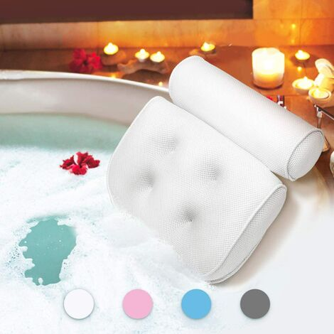 Bath Pillow, Bath Pillow with Suction Cups, Ergonomic Home Headrest Pillow for Spa Pillow Bath, Jacuzzi, Hot Tub, Home Spa (38 x 36 x 8.5cm)