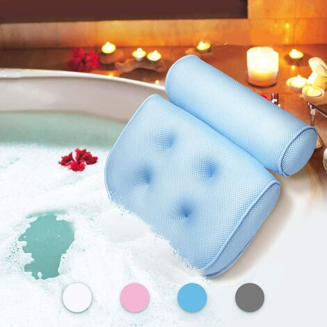 Bath Pillow Waterproof Bath Pillow Head and Neck Foaming Bath Mat with Suction Cup Bath Accessories Gift Leisure Products Bleu B