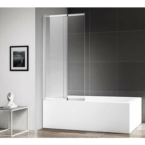 Bath screen Moka 110x140cm - 4mm with nano coating, pivot, shower screen, curved, aluminium profile
