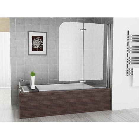 Bath Screen Shower Screen 2 Folding 180° Hinge Door Panel 6mm Easy Clean Glass