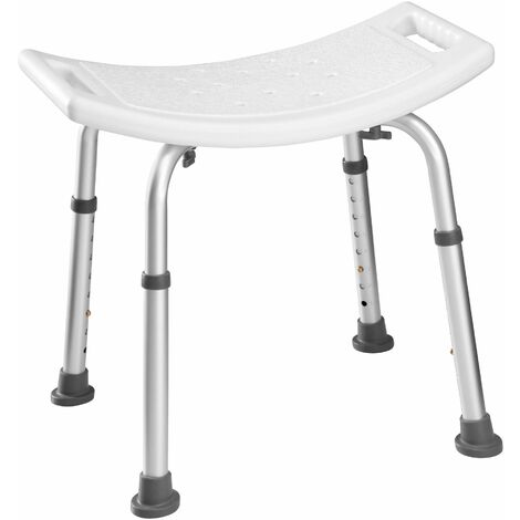 Bath seat with adjustable legs, rectangular - shower chair, shower stool, shower seat - white