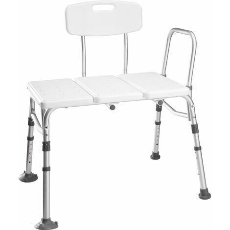 Bath seat with back- and armrest, adjustable height - shower chair, shower stool, shower seat - white