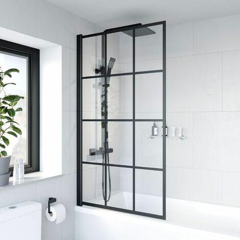 "main image of ""Bath Shower Screen Door Hinged 780mm Framed Black Grid Square Safety Glass Panel"""