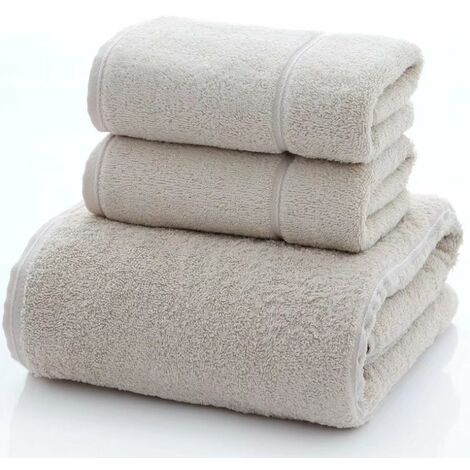"""main image of """"Bath towel 3 pieces absorbent cotton towel with long fibers"""""""