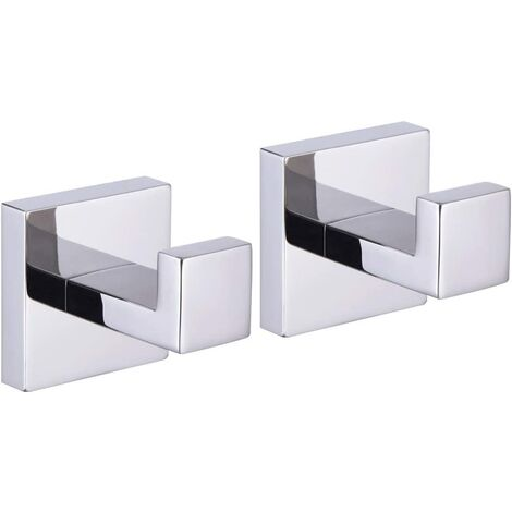 """main image of """"Bath Towel Hook SUS 304 Stainless Steel Square Clothes Towel Coat Robe Hook Cabinet Closet for Bath Kitchen Garage Heavy Duty Wall Mounted Polished Finish, 2 Pack"""""""