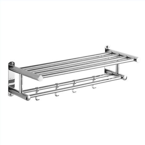 """main image of """"Bath Towel Rack Double Layered Bathroom Shelves with 4 Removable Hooks Wall Mounted Towel Holder 23 Inch Towel Bar Rustproof Stainless Steel Towel Shelf,model:Silver"""""""