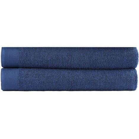 """main image of """"Bath Towel Set 2 pcs Cotton 450 gsm 100x150 cm Navy - Blue"""""""
