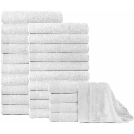 Bath Towels 25 pcs Cotton 350 gsm 100x150 cm White - White