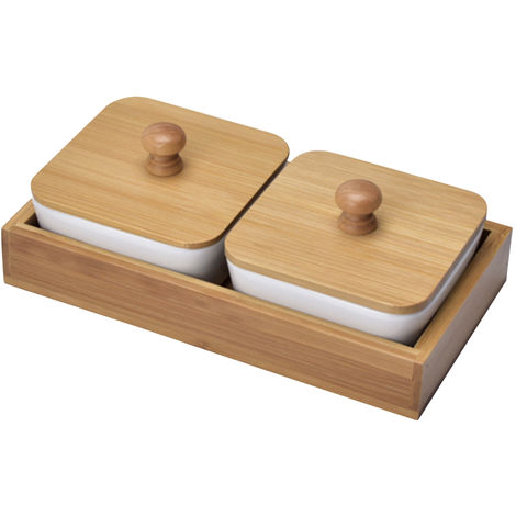 Bath tray accessories Two compartments with lid ceramic fruit tray brown