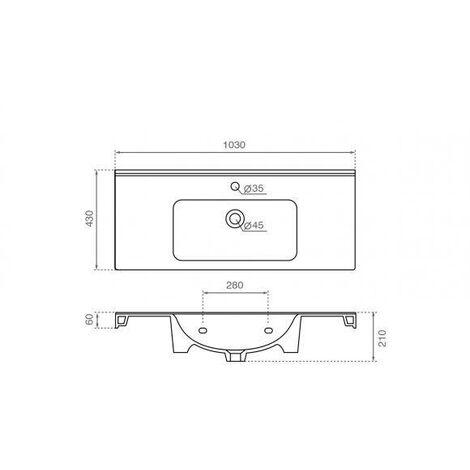 BATHCO 4099 PRAGA 100 Lavabo Rectangular