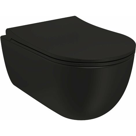 BATHME SPC1-0004 MANHATTAN Inodoro Suspendido Rimless Con Tapa Color Negro Mate