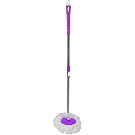 BATHRINS® Balai serpillière microfibre avec seau essoreur violet double bac.