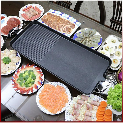 BATHRINS® Barbecue électrique rectangulaire 68*28cm Noir