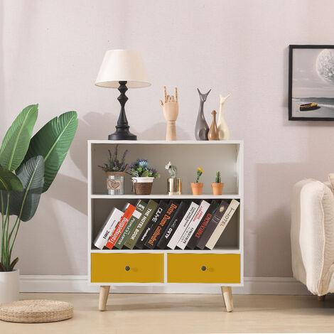 BATHRINS® Étagère de Rangement, Meuble de rangement escalier 2 niveaux bois blanc et jaune avec porte et tiroirs