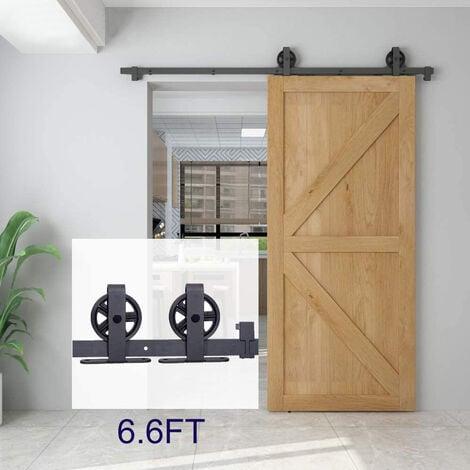 BATHRINS® Kit de porte coulissante système galandage pour porte d'une épaisseur de 35-45 mm et largeur max. 200cm– Noir