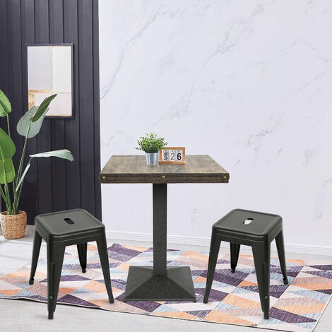 BATHRINS® Lot de 2Tabouret style Tolix avec 1 table.