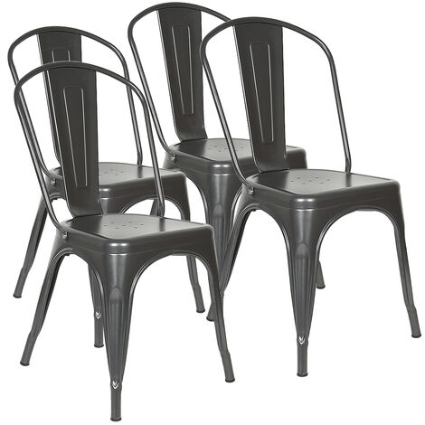 BATHRINS® lot de 4 Chaises en métal Style Industriel-Chic Cuisine Bistro Tolix Design gris anthracite 85*45*45cm