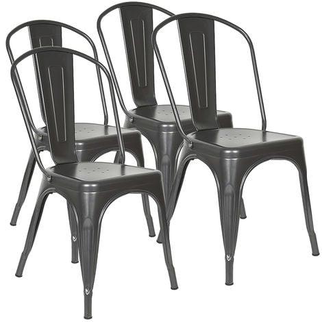 BATHRINS® lot de 4 Chaises en métal Style Industriel-Chic Cuisine Bistro Tolix Design gris anthracite
