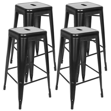 BATHRINS® Lot de 4 tabourets de Bar Industriel métal Noir