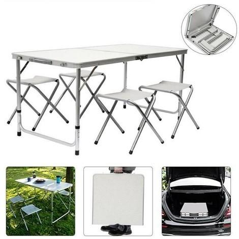 BATHRINS®1 Tisch + 4 Stühle/Klappbarer Gartentisch/Aluminium-Buffettisch/Geeignet für Partys/Stuhlbelastbarkeit: 150kg